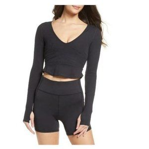 Free People Movement Bow Down Crop Top M Black